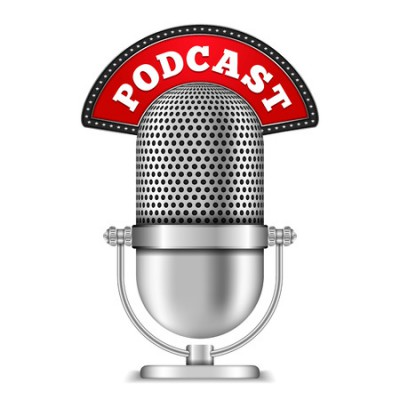 38331463 - microphone with podcast banner