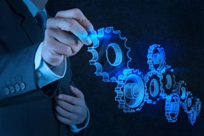 17542935 - businessman hand draws gear to success concept